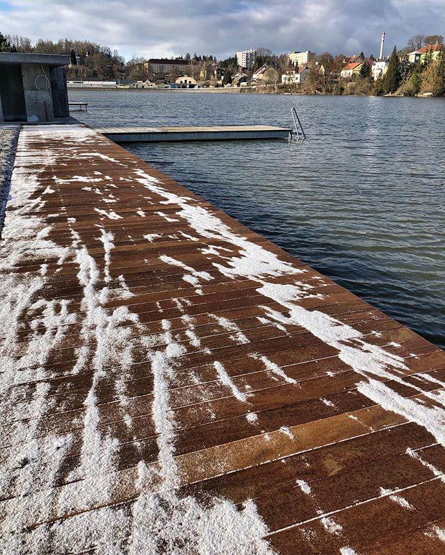 #garapa#ourwork#wood#lake#water#czech#garapawood#terasa#terrace#snow#winter#frost